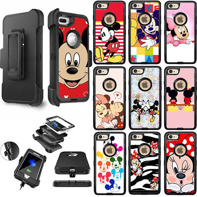 Cartoon Mickey&Minnie Shockproof Armor Hard Clip Case Cover For iPhone Samsung