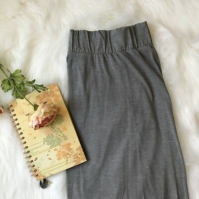 LIZ LANGE Long Maxi Maternity Skirt Small S Gray Straight Stretch Back Slit