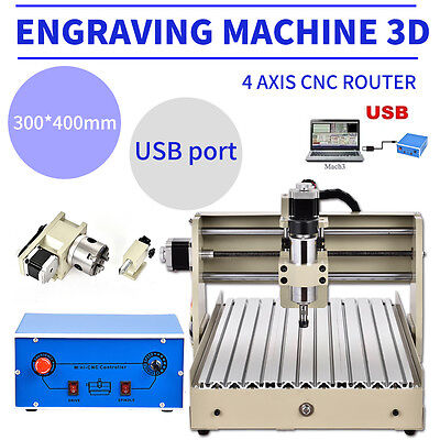 USB 4AXIS CNC ROUTER 3040 ENGRAVER ENGRAVING MACHINE CARVING 3D CUTTER 32/64bits