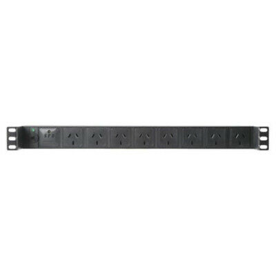 Horizontal Recessed Rack Power Rail Surge 8 Way GPO PDU - C14 Input