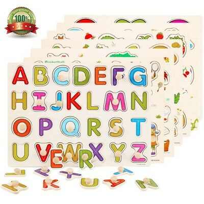 Wooden Puzzles Animal/Numbers/Letters Shaped Peg Baby Kids Preschoolers Toy Gift