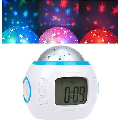 Kids LED Music Digital Alarm Clock Projection Star Sky Time Calendar Thermometer