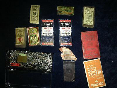 antique 19TH CENTURY 1800'S EARLY 1900'S NEEDLE COLLECTION GOLD STEEL ETC YEOMAN