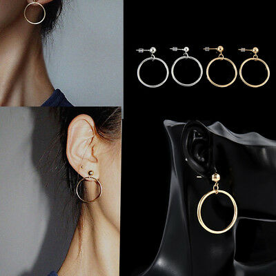 Chic Women Gold Silver Plated Big Circle Smooth Large Ring Hoop Fashion Earrings