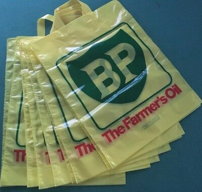 """X 10. Rare, Retro, Vintage """"BP"""" Carrier Bags """"Old New"""" Free UK P&P"""