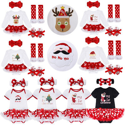 Infant Baby Girls Christmas Romper Tutu Dress Outfit First Xmas Clothes Set US