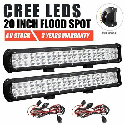 2x 20inch CREE Spot Flood Combo LED Work Light Bar Driving Lamp Offroad 4WD SUV