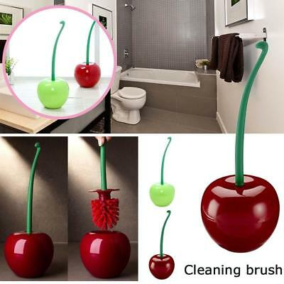 Creative Lovely Cherry Shape Lavatory Brush Toilet Brush & Holder Set Red Green