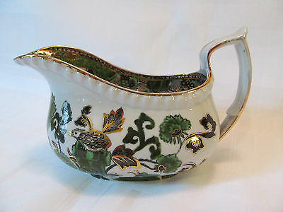 Spode Copeland England Burley & Co Chicago Antique Creamer Jug Green Gold