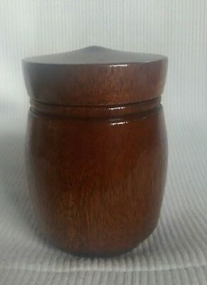 Lovely Shiny Wooden Treen Pot With Flat Lid