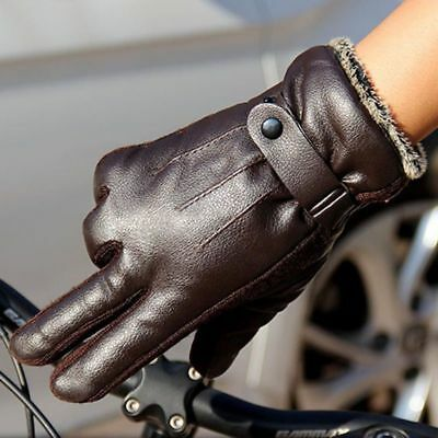 Mens Leather Gloves Full Finger Motorcycle Driving Winter Warm Touch Screen UP