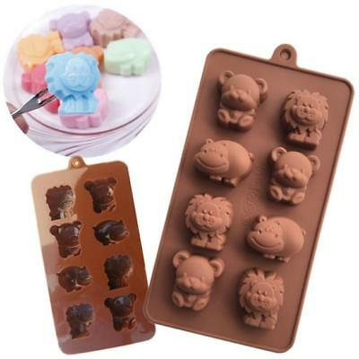 Silicone Animals Mould Chocolate Mold Lion Bear Hippo Cow 8 Cavities MS