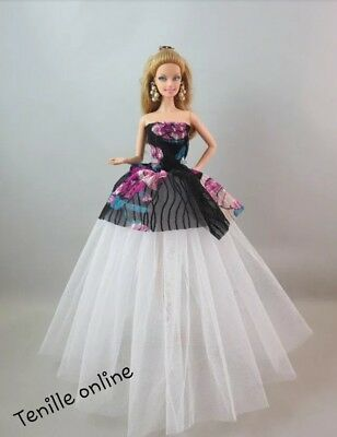 New Barbie clothes outfit princess wedding dress gown floral lace and shoes