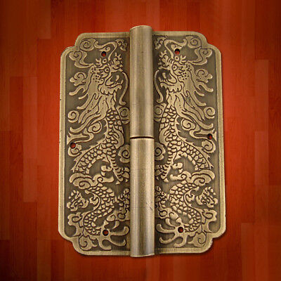 1 Hinge Chinese Furniture Brass Hardware Trunk Cabinet Door Copper Dragon 3.15''