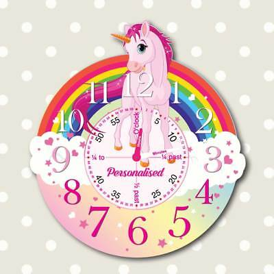 Unicorn Clock Learn to tell the time clock Personalised Girls Bedroom Wall Clock