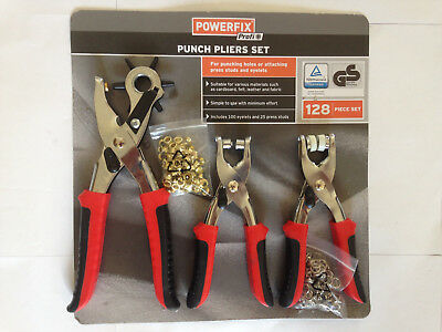 H/Duty GERMAN Revolving Punch Hole Pliers 128 PIECE Set Eyelets Press Stud MRP24