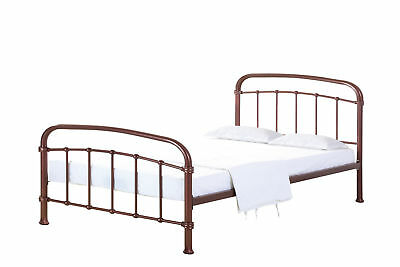 Halston Copper Vintage Metal Bed Frame - 3ft Single, 4ft6 Double & 5ft Kingsize