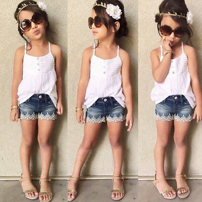 2pcs Toddler Kids Baby Girl Outfit Tank Tops Dress+Jeans Shorts Lace Clothes Set