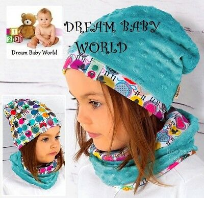 REVERSIBLE Baby girl Hat With Tube Scarf BEANIE 2pcs set GIRLS 18 - 36 months