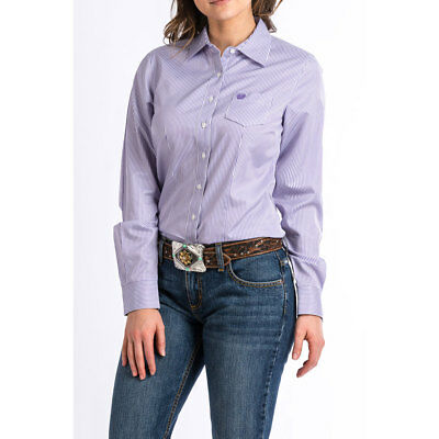 MSW9164087 Cinch Ladies Purple Pinstripe Western Shirt with Lyocell NEW