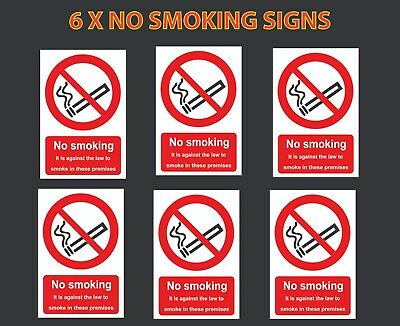 No Smoking warning stickers *Pack of 6* 100 x 150mm A6 sign Health and Safety