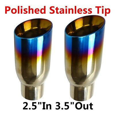 """2PCs BLUE BURNT EXHAUST SLANT CUT POLISHED STAINLESS TIP 2.5""""IN 3.5""""OUT"""