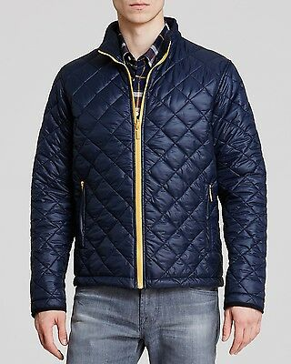 NWT Barbour Blue w/ contrasting Yellow Kellen Medium 38-40 Nylon quilted jacket