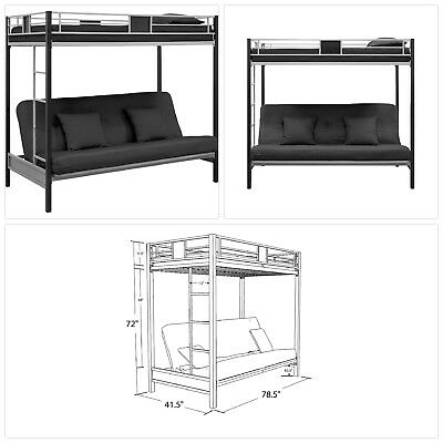 Dhp Silver Screen Twin Over Futon Metal Bunk Bed With Ladder