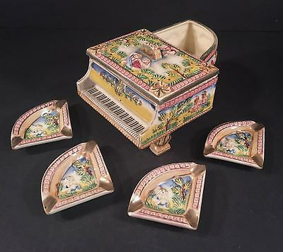 Vintage HINODE Japan Rare Adam & Eve Piano Cigarette Box with Four Ashtrays