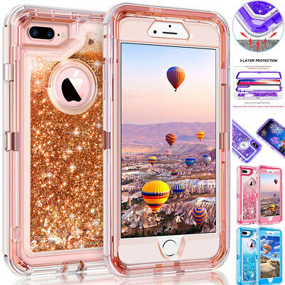 For iPhone Xs Max/XR/X 7 8 Plus Quicksand Liquid Glitter Bling Case Armor Cover