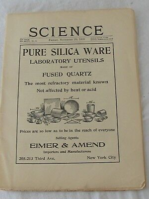 Eimer & Amend SCIENCE Magazine Back Issue 1908 Pure Silica Ware
