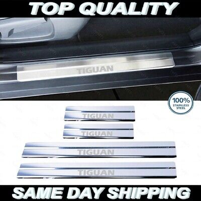VW Tiguan MK2 Chrome Door Sill Protector Plate Cover 2016 up Stainless Steel