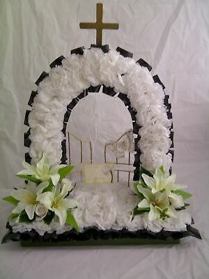 Artificial Silk Funeral Flower Gates of Heaven Wreath Memorial Tribute False