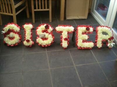 Sister Artificial Silk Funeral Flowers 6 Letter Wreath Name Tribute Memorial