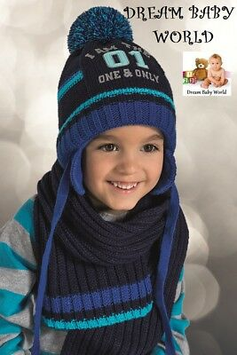 BABY BOYS KIDS KNITTED warm winter set hat with scarf size 9 - 24 months NEW