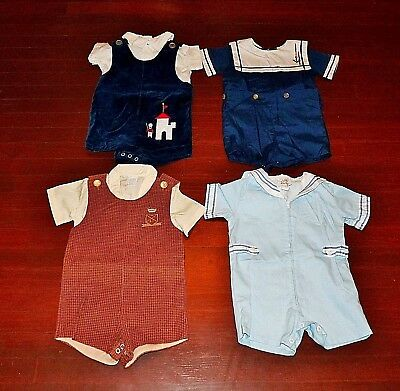 4 Vintage Boys Baby Toddlers Shortall Rompers Sets 24 Months Clothing Lot Vgc
