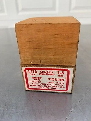 Young Bros 1/16 Inch Gruv Grip Steel Number Stamp Set 0 to 9 Made in U.S.A.