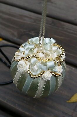 Victorian Fancy Vintage Style Christmas Beaded Ribbon Ornament~Mint Green/Cream
