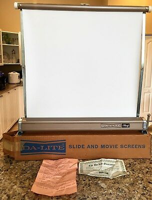 """Vintage Da-Lite Handy Table Top Slide and Movie Screen 18"""" X 17"""" W/ Box & Papers"""