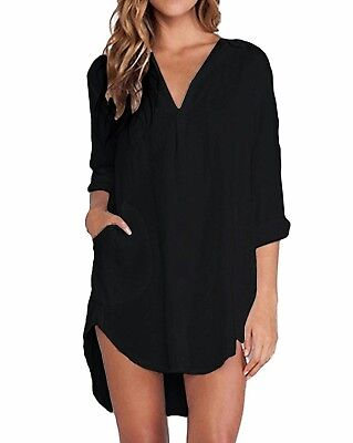 ZANZEA Womens Chiffon Long Sleeve Shirt Dress Ladies Loose Short Casual Top