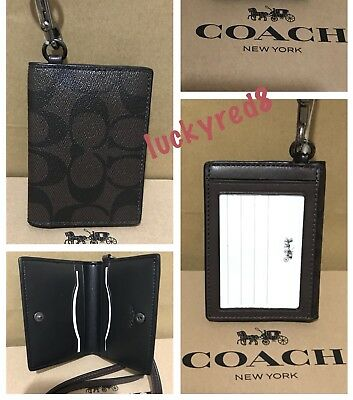 NEW Coach Signature Lanyard ID Holder Case Wallet In Mahogany Brown F36139 $95