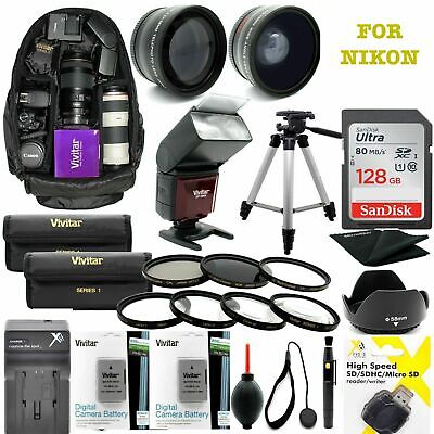 Nikon Coolpix P1000 Platinum Hd 128Gb Accessory Kit Flash/lenses/backpack/tripod