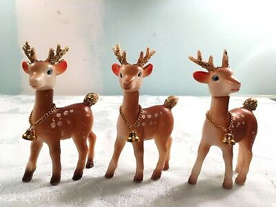 Vintage Christmas Reindeer Lot Of (3) W/ Gold Glitter Brass Bells Made In Hong K