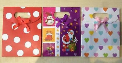 Pack of 3 Small Size Multi Coloured Gift Bags 3 Different Designs UK Seller