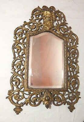 antique ornate figural Bacchus gilt cast iron brass wall mount mirror sconce