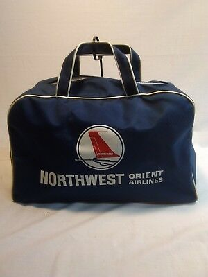Vintage Northwest Orient Airlines Blue Zipper Carry OnCollector or Movie Prop?