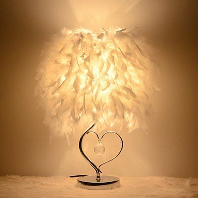 Table Desk Lamp Modern LED White Metal Base Bedside Feather Lampshade Book Light