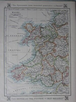 1912 Map ~ Wales Anglesey Cardigan Montgomery Glamorgan Radnor Monmouth