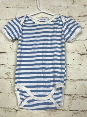 Under The Nile Infant Striped 100% Organic Cotton One Piece 3-6 Mos. Blue/White