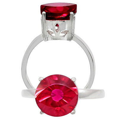 Indian Ruby Round Shape 925 Sterling Silver Ring Jewelry DGR1090_F